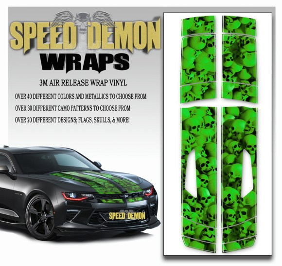 Skulls Skull Stripper Camaro Stripes Green 2016-2017-2018