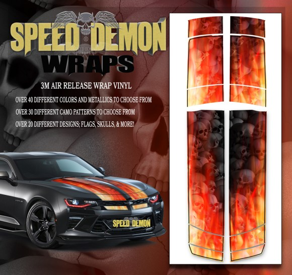 V6 Camaro Stripes Flames Grey Skulls Inferno W BLK PS 2016-2017-2018