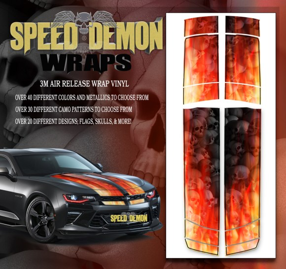 V6 Camaro Stripes Flames Grey Skulls Inferno W BLK PS 2016-2017-2018