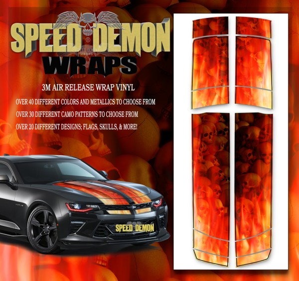 V6 Camaro Stripes Flames Skulls Inferno W BLK PS 2016-2017-2018