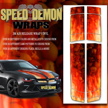 V6 Camaro Stripes Flames Skulls Inferno W BLK PS 2016-2017-2018