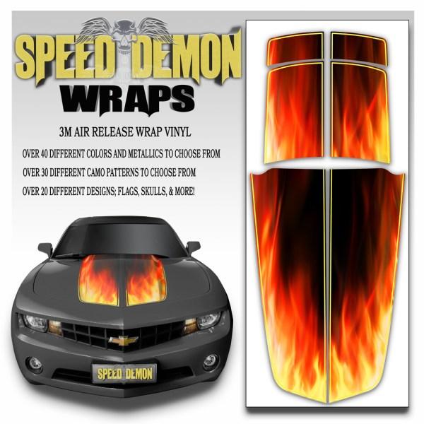 Camaro Stripes Flaming Inferno 2010-2011-2012-2013-2014-2015 With Yellow Pinstripe