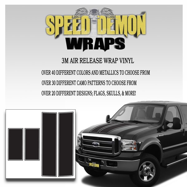 Ford F350 F250 Stripes Matte Black 1999-2006