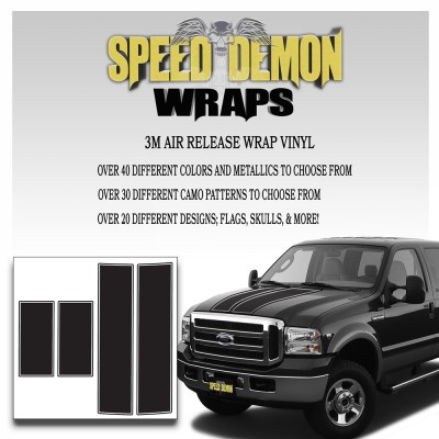 Ford F350 F250 Stripes Matte Black 1999-20006