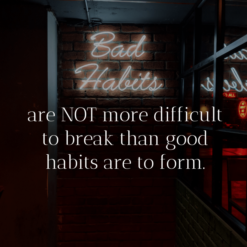 "Neon text saying ""Bad Habits"" with text"