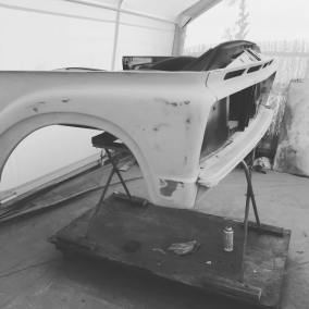 1962 Ford Unibody front end ready for paint