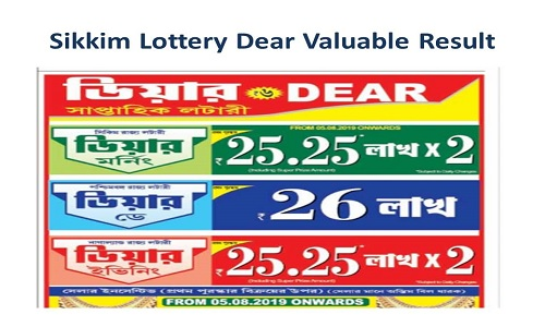 Sikkim Lottery Dear Valuable Results 10-08-2019 |Dear Morning