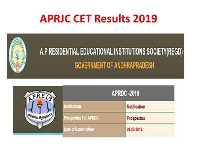 APRJC CET Results 2019 Download Manabadi APRJC CET Exam