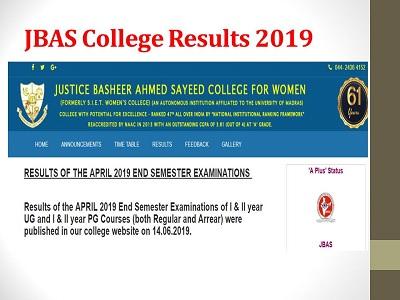 JBAS College Results 2019 (Released) UG PG I & II Year JBAS