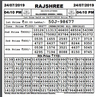 Goa Lottery Rajshree Green Results 04/09/2019 Revealed @4 PM