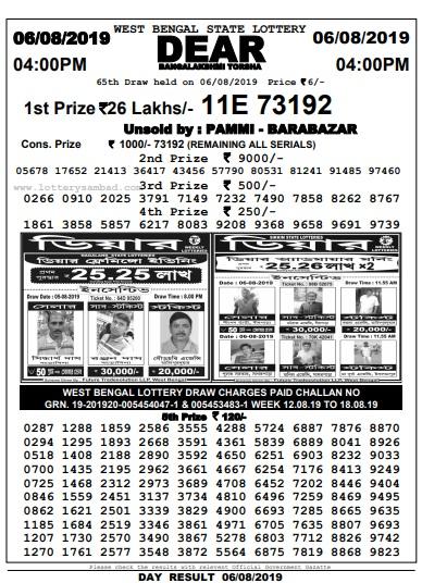 West Bengal Lottery Banga Lakshmi Torsha Results 06/08/2019