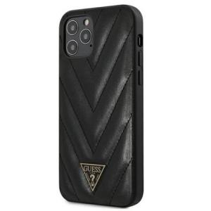 Guess V Quilted Cover für Apple iPhone 12 Pro Max/12 Pro/12/12 Mini Schwarz