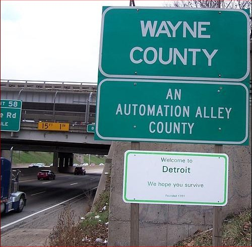 Fun with Detroit road signs.