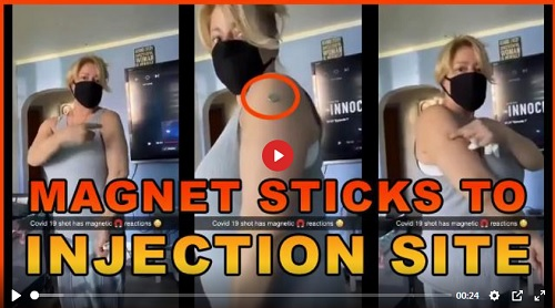 Magnet Sticks To Womans Arm Where Covid Shot Was Given? WTF? LIVE PROOF THAT METALLIC PARTICLES ARE IN THE PFIZER JAB?