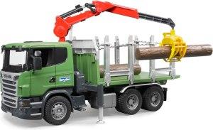 Bruder 3524 Houttransporter vrachtauto Scania R-serie met kraan en 3 boomstammen