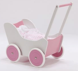 Houten Poppenwagen Pink + gratis dekbedsetje / slaapzakje