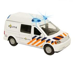 Politiebus, pull back met licht en geluid.