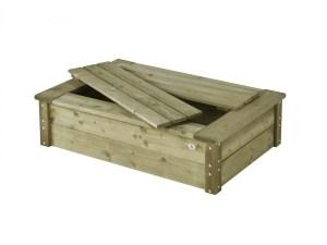 Rechthoekige houten zandbak met deksel Talen 120 x 80 cm.