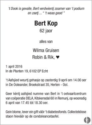 Overlijdensbericht Bert Kop