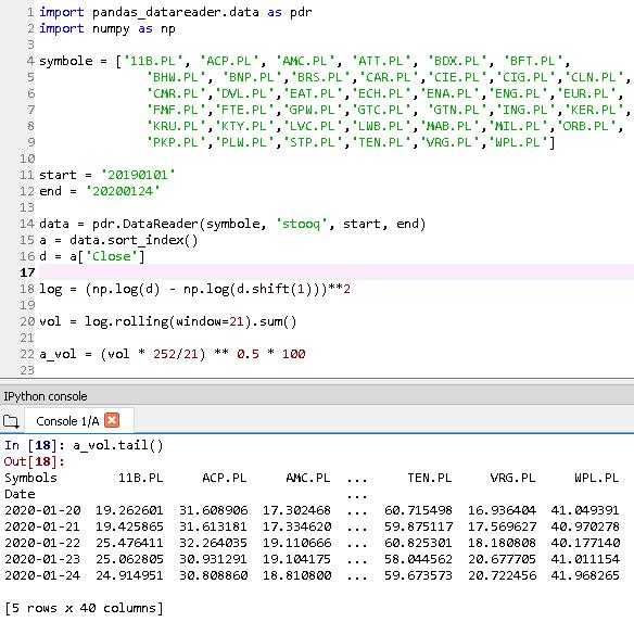 mwig40 rv Zmienność zrealizowana   kalkulacja