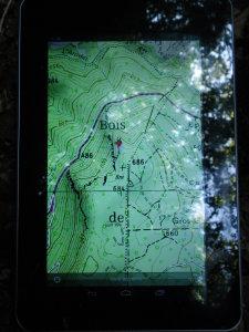 """Pointage GPS du petit trou du Bois de Souhait avec la tablette 7"""""""