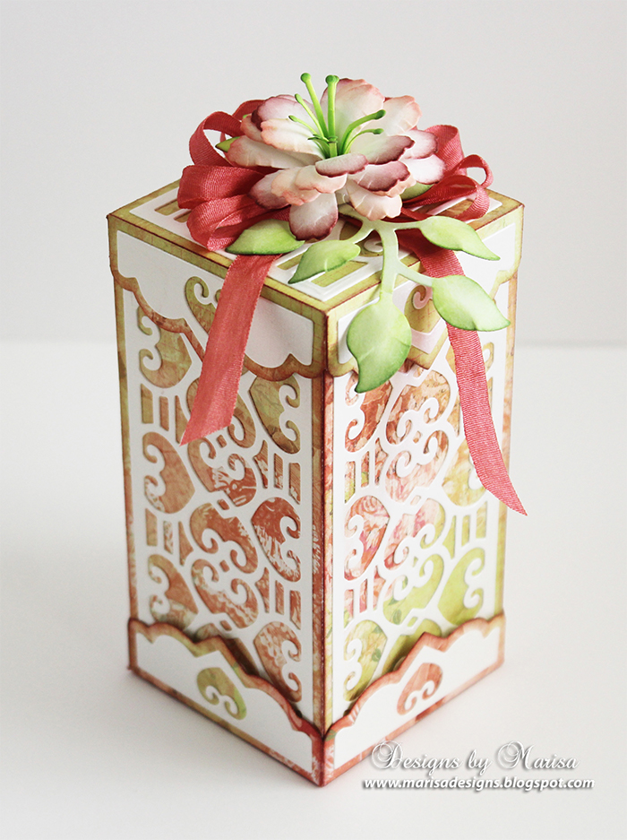 Double Heart Card & Box Ensemble with Rolled Flowers by Marissa Job for Spellbinders