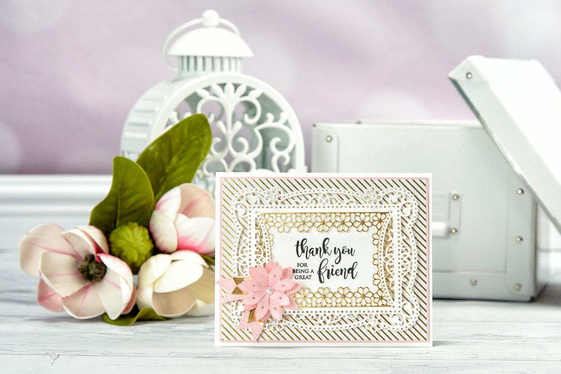 Cardmaking Inspiration   Thank You for Being A Great Friend Card by Yana Smakula for Spellbinders. Using: S4-819 Lilly Pearl Flat Hold Flower/Border, S4-820 Vintage Pierced Banners, S5-328 Talullah Frill Layering Frame Small dies.