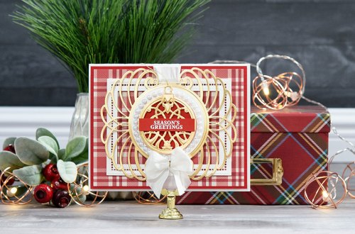 Cardmaking Inspiration | Season's Greetings Card by Yana Smakula for Spellbinders using S4-760 Gilded Ornaments Dies, S5-308 Hemstitch Rectangles Dies, S5-309 Marcheline Plume Dies #christmascard #spellbinders #diecutting