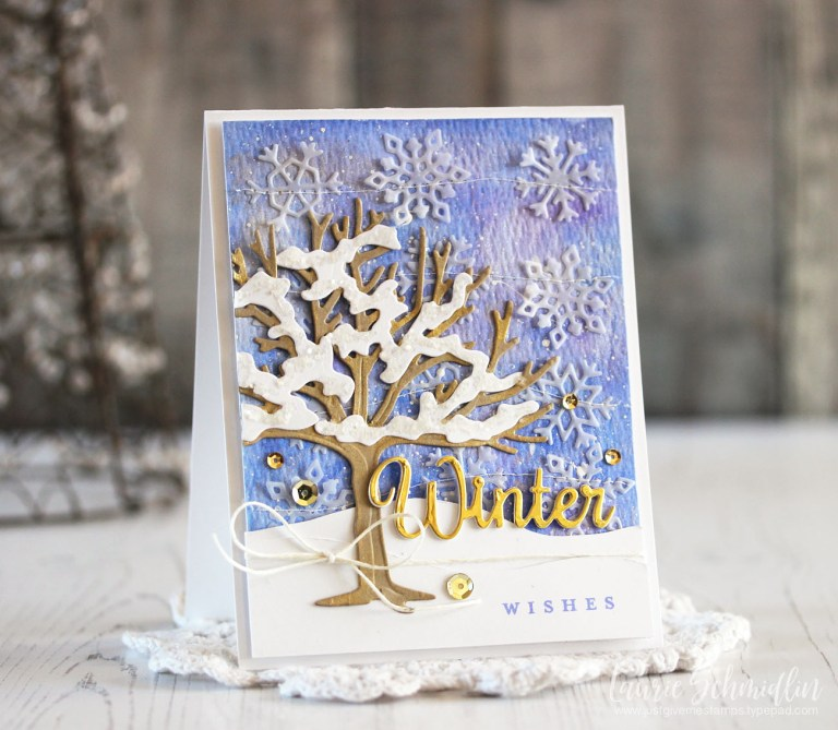 Four Seasons Winter Wishes by Laurie Schmidlin for Spellbinders using S4-840 Four Seasons Tree, S4-844 Winter Canopy and Elements dies #spellbinders #diecutting #cardmaking