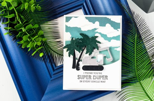 Cardmaking Inspiration | You Are Super Duper Card by Yana Smakula for Spellbinders using ​S3-295​ ​ ​Tractors​ S3-249​ Palm​ ​Trees​ ​ S5-180​ ​A2​ ​Curved​ ​Borders​ ​One​ ​dies. #spellbinders #neverstopmaking #diecutting #handmadecard #tractorcard #masculinecard #punnycard