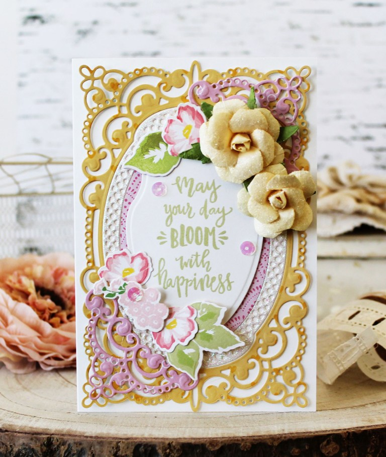 Spellbinders Chantilly Paper Lace Collection by Becca Feeken - Inspiration with Melissa Phillips using S4-820 Vintage Pierced Banners, ,S5-327 Annabelle's Trousseau, S5-330 Lunette Arched Borders #spellbinders #cardmaking #diecutting #handmadecard #chantillypaperlace