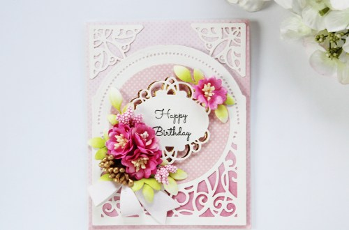 Elegant 3D Vignettes Collection by Becca Feeken - Inspiration | Happy Birthday Card with Hussena. Created using S3-314 Petite Double Bow and Flowers, S4-867 Cinch and Go Flowers III, S5-342 Tiara Rondelle, S6-136 Grand Dome 3D Card, SDS-054 Giving Occasion Stamp and Die Set #cardmaking #diecutting #handmadecard #birthdaycard #spellbinders