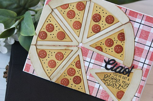 Die D-Lites Inspiration   Pizza My Heart Party Food. Video tutorial by Nichol Spohr for Spellbinders using S3-321 Party Food. #spellbinders #diecutting #handmadecard #neverstopmaking
