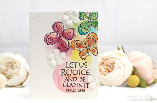 Bible Journaling Collection by Joanne Fink Inspiration | Watercolor Cards with Yoonsun using SBS-140 Singing Bird, SBS-141 Butterfly, SBS-147 This is The Day, S5-328 Tallulah Frill Layering Frame Small, DOM-FEB17 So Tweet Die Set #spellbinders #cardmaking #handmadecard