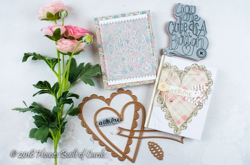 Sew Sweet Collection by Tammy Tutterow - Inspiration | Cute As A Button Cards with Heather for Spellbinders using: SBS-159 Cute as a Button, SBS-162 Sew Tiny, Sentiments, S6-144 Sew Sweet Trims, S6-145 Sew Sweet Valentine #spellbinders #diecutting #handmadecard #cardmaking