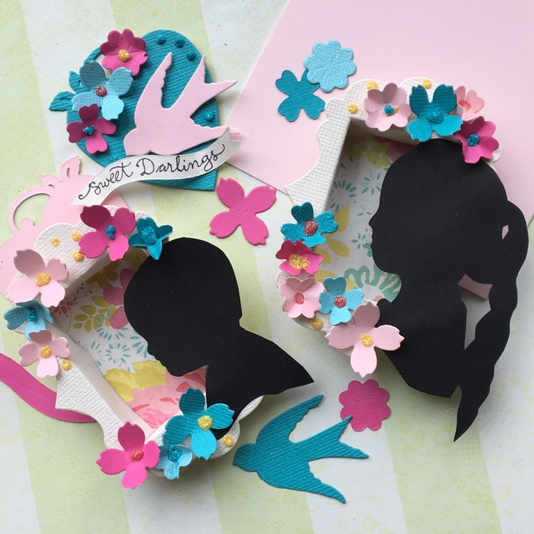 Tiny Shadow Box Portraits with Sharyn Sowell for Spellbinders using S5-339 Tiny Shadow Box, S2-261 Swallow and Heart