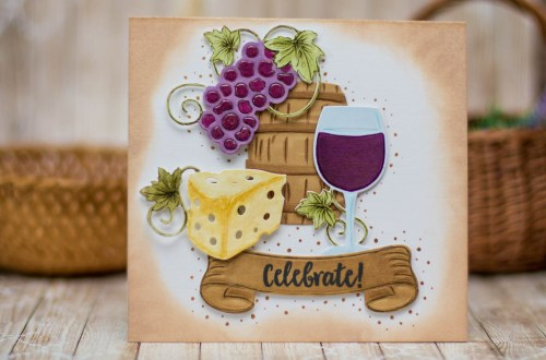 Cardmaking Inspiration | Wine Country Celebrate Card by Elena Salo for Spellbinders using SDS-133 Vineyard Wine Bottle Tag, SDS-135 Barrel of Sentiments, S5-347 Wine Charms #spellbinders #diecutting #winecountry #neverstomaking #handmadecard