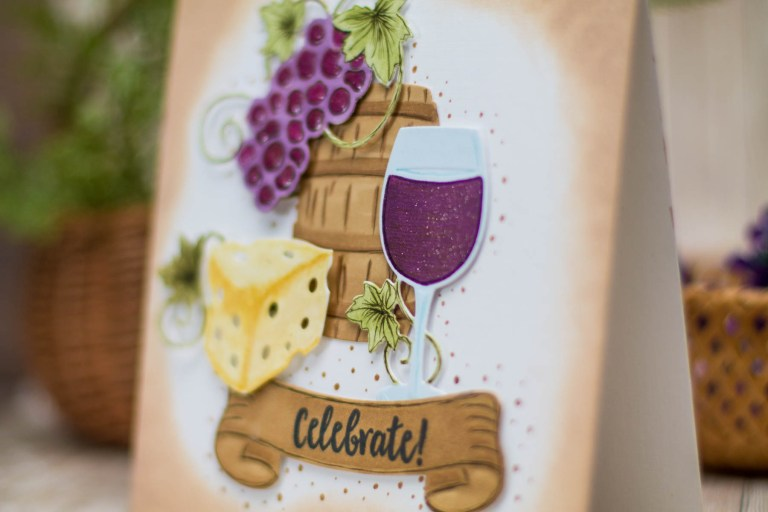 Cardmaking Inspiration   Wine Country Celebrate Card by Elena Salo for Spellbinders using SDS-133 Vineyard Wine Bottle Tag, SDS-135 Barrel of Sentiments, S5-347 Wine Charms #spellbinders #diecutting #winecountry #neverstomaking #handmadecard