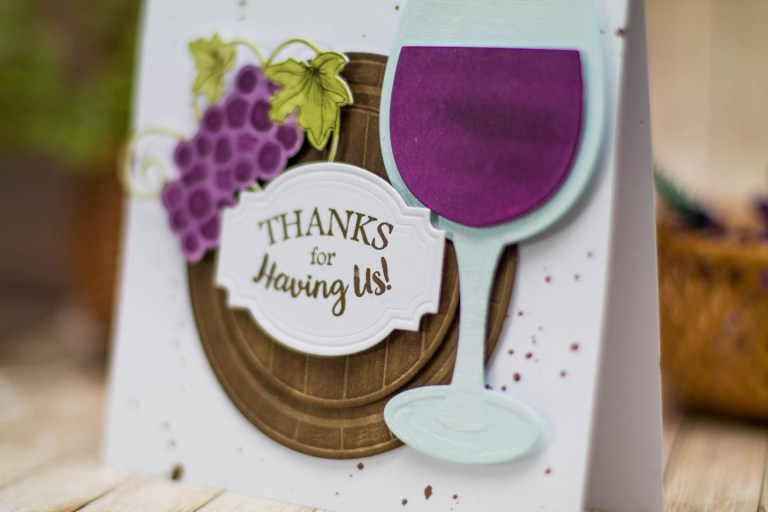 Cardmaking Inspiration | Thanks For Having Us Card by Elena Salo for Spellbinders using SDS-134 Wine Glass Bottle Tag, SDS-135 Barrel of Sentiments, S5-347 Wine Charms. #spellbinders #thankyoucard #diecutting #handmadecard #neverstopmaking