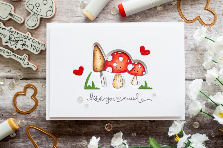 The Perfect Match Collection by Debi Adams - Inspiration | Getting All Mushy by Gemma for Spellbinders using SDS-129 Getting All Mushy #spellbinders #stamping #copiccoloring #neverstopmaking #diecutting #handmadecard