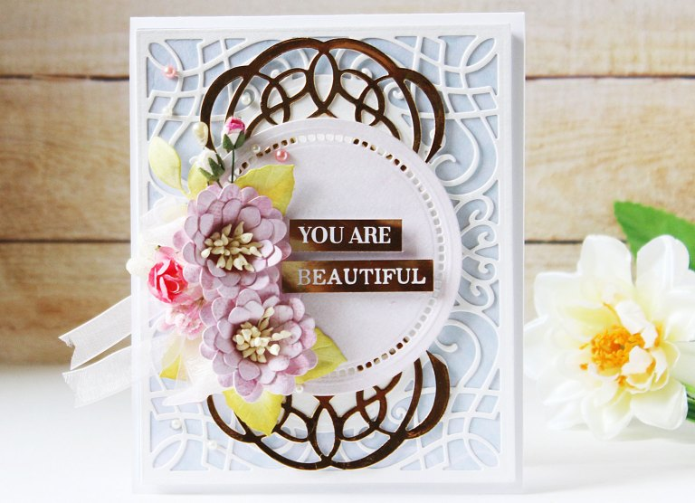 Romancing The Swirl Collection by Becca Feeken - Inspiration | Shaped Cards with Hussena for Spellbinders using: S4-928  Hemstitch Circles  S4-930 Curvy Labels  S5-364 A2 Corner Cotillion S5-367  Flourished Square S5-369  Ringlet Round #spellbinders #neverstopmaking #cardmaking #diecutting #handmadecard