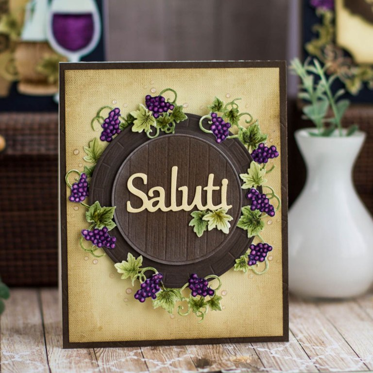 Cardmaking Inspiration | Saluti Card by Elena Salo for Spellbinders. S4-878 Frame Charms, SDS-135 Barrel of Sentiments, SDS-132 Wine Corks, SDS-134 Wine Glass Bottle Tag #spellbinders #diecutting #handmdecard #winecountry #neverstopmaking