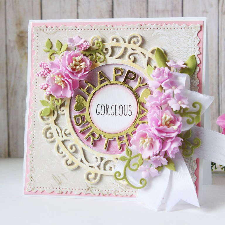 Special Moments Collection by Marisa Job - Inspiration | Happy Birthday Card by Hussena for Spellbinders.  S4-943 Happy Birthday W/ Numbers, S5-376 Miss You Swirl, S5-378 Floral Oval, S7-215 Vintage Stitched Squares dies. #mrisajob #spellbinders #neverstopmaking #diecutting #handmadecard #foamiranflowers