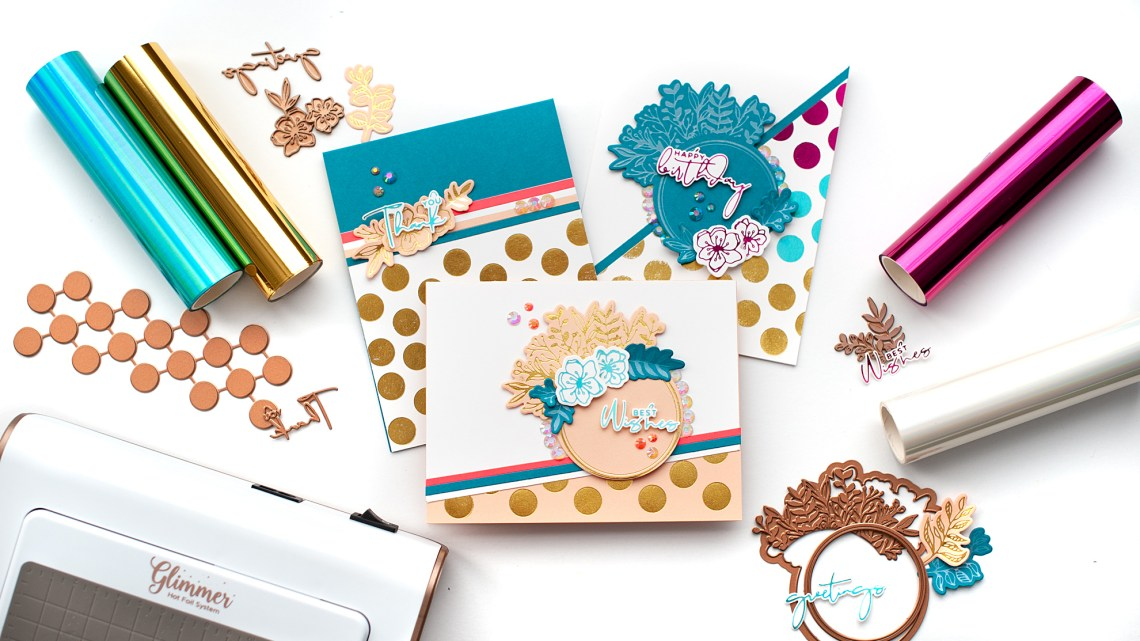 Spellbinders Yana's Foiled Basics collection by Yana Smakula | Feminine Foiled Card Set with Lea Lawson | Video tutorial #YSFoiledBasics #GlimmerHotFoilSystem #Spellbinders #HotFoiling