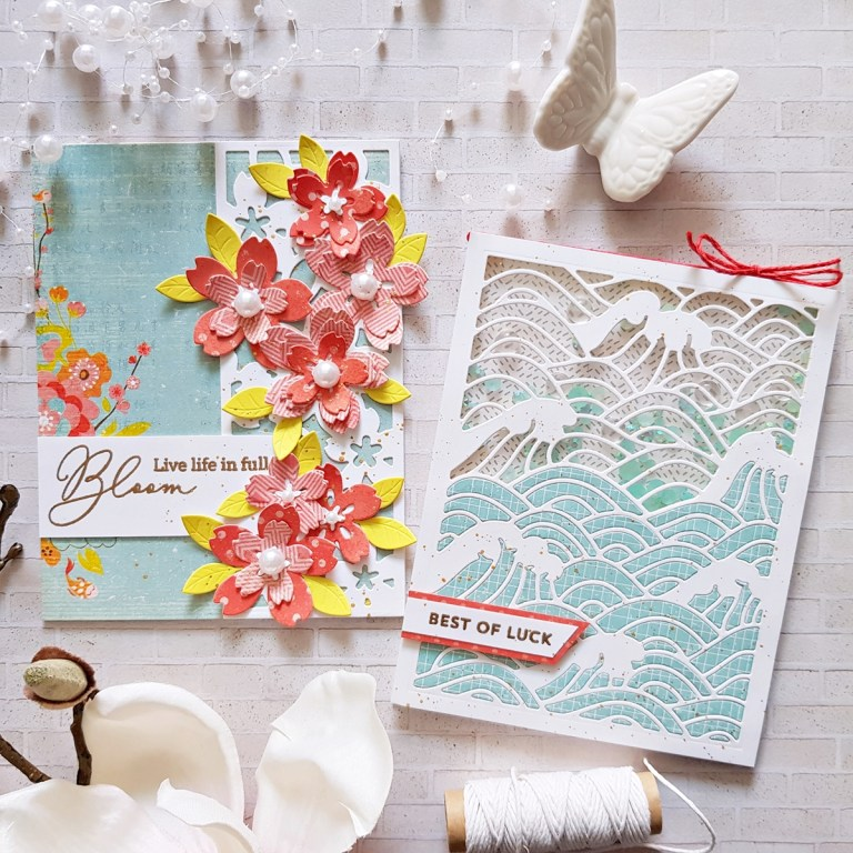 Spellbinders Destinations Japan Collection by Lene Lok - Inspiration | Patterned Paper Cards with Zsoka #Spellbinders #NeverStopMaking #DieCutting