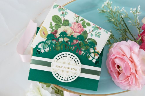 Spellbinders Cardmaking Inspiration | Just For You Card Featuring Regal Bandeau Topper with Kim Kesti #Spellbinders #NeverStopMaking #GlimmerHotFoilSystem