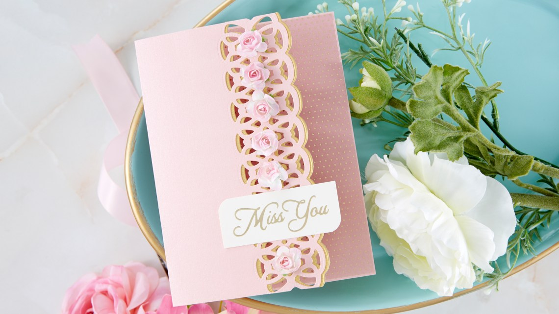 Spellbinders Cardmaking Inspiration | Miss You Card Featuring Infinity Link Border with Kim Kesti #Spellbinders #NeverStopMaking #GlimmerHotFoilSystem