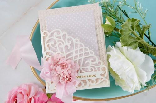 Spellbinders Cardmaking Inspiration | With Love Card Featuring Candlewick Grand Pocket with Kim Kesti #Spellbinders #NeverStopMaking #GlimmerHotFoilSystem