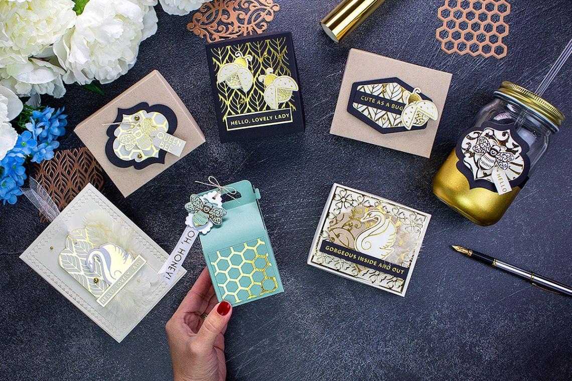 Becca Feeken Sweet Cardlets Glimmer Project Kit | Cardmaking Inspiration with Bibi Cameron | Video Tutorial #NeverStopMaking #DieCutting #Cardmaking #GlimmerHotFoilSystem