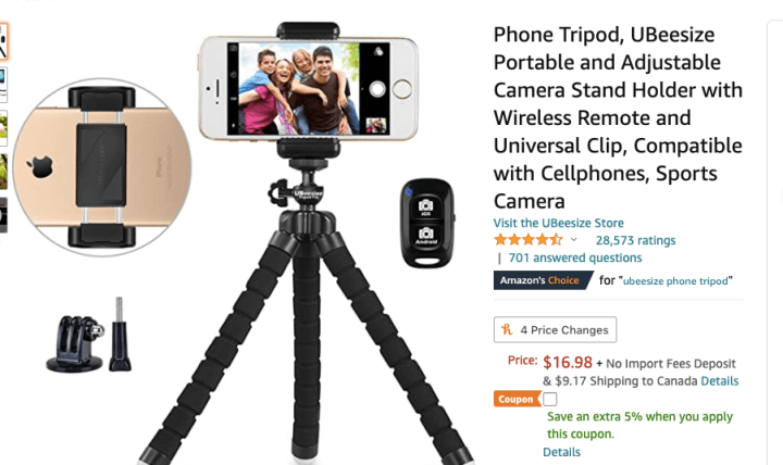 spellbound travels phone tripod with remote